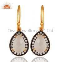 Zircon White Moonstone Gemstone Earrings Manufacture Jewelry