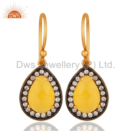 Gold Plated Sterling Silver Yellow Moonstone Earrings