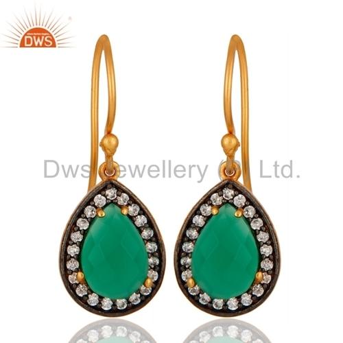 CZ Green Onyx Gemstone Earrings Jewelry