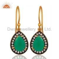 Natural Green Onyx Gemstone Silver Earrings Jewelry Manufacture