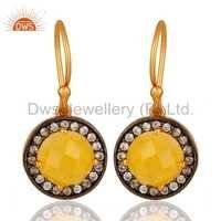 Yellow Moonstone CZ Gemstone Gold Plated Silver Earrings