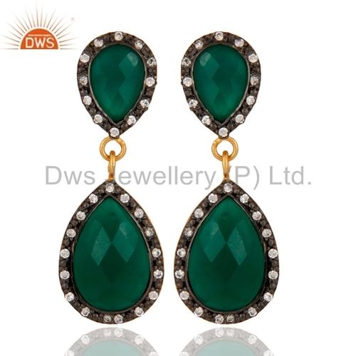 Silver Gold Vermeil Green Onyx Earring