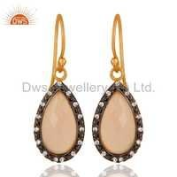 Zircon Rose Chalcedony Gemstone Silver Earrings Jewelry
