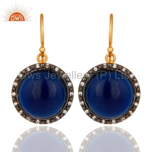 Designer CZ Blue Corundum Earring Jewelry