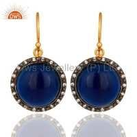 CZ Blue Corundum Gemstone Earrings Jewelry Supplier