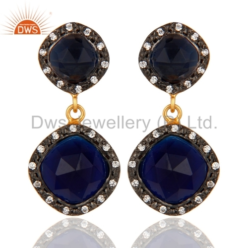 Gold Plated Blue Corrundum Sterling Silver Earring