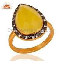 Gold Plated Sterling Silver Yellow Moonstone Ring
