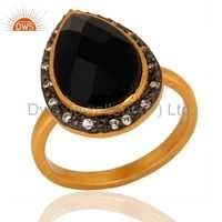 Gold Plated Sterling Silver Black onyx Ring