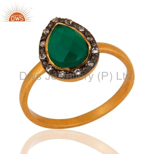 Green Onyx Sterling Silver 22K Gold Vermeil Ring