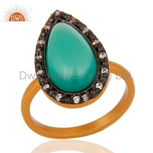 Green Onyx Gemstone 925 Silver Ring