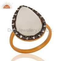 White Moonstone 22K Gold Vermeil Sterling Silver Ring