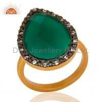 Sterling Silver Green Onyx Gold Vermeil Ring