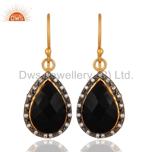 Gold Plated Sterling Silver Black Onyx Earring