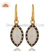 White Moonstone Gold Plated Sterling Silver Earrings