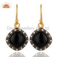 Black Onyx Gold Plated Sterling Silver Earrings