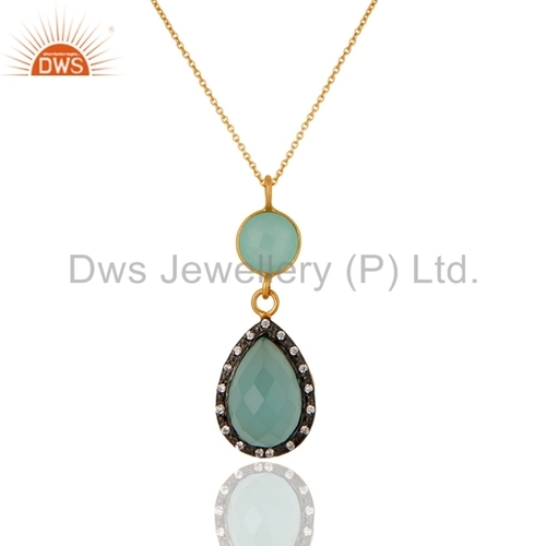 Blue Aqua Glass Gold Plated Sterling Silver Pendant