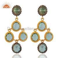 Gold Plated Sterling Silver Glsss Blue Topaz Earring