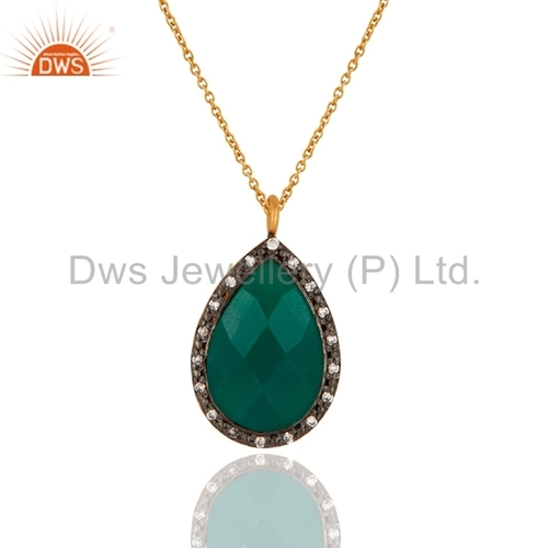 Gold Plated Sterling Silver Green Onyx Pendant