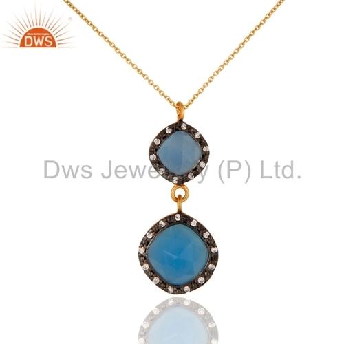 Aqua Blue Chalcedony Gold Vermeil Silver Pendant