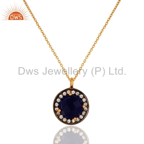 Gold Vermeil Blue Corundum 925 Silver Pendant