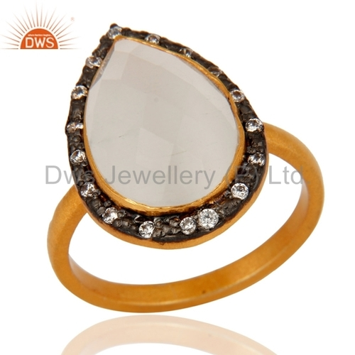 White Moonstone Sterling Silver Gold Vermeil Ring