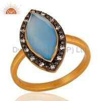 Gold Vermeil Sterling Silver Blue Chalcedony Ring