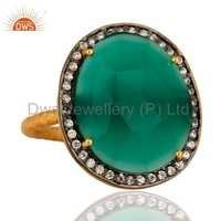 Green Onyx Gold Plated Brass Ring