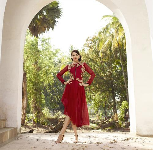 Red Georgette Embroidered Kurti