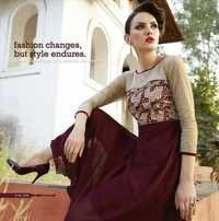 Cream & Maroon Georgette Embroidered Kurti