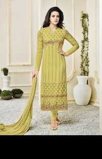 Green Stylish Georgette Embroidered Suit