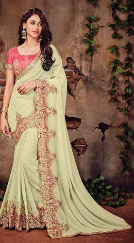 Looking Amazing Light Green Georgette Saree