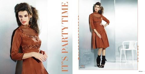 Latest formal wear brown western kurti design