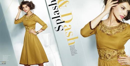 Golden Colour Latest Style Indian Kurti