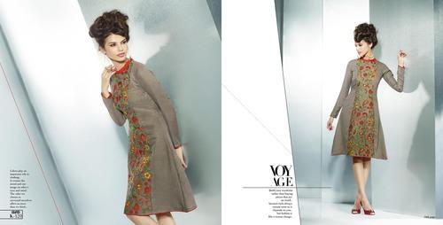 Grey pakistani short tunic girls wear