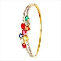Navratna design Half Bangle