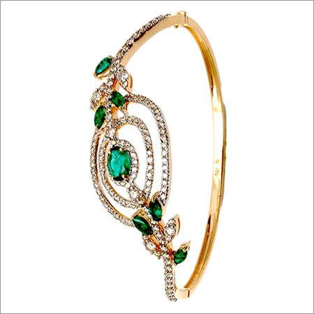 Gold Diamond Emerald Half Bangle