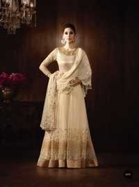 Beige Pure Georgette Exclusive Wedding Wear Suit