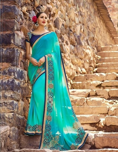 Wedding Wear Green Designer Saree