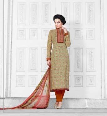 Beige Colored Cotton Unstitched Salwar Kameez