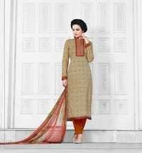 Beige Colored Cotton Unstitched Salwar Kameez