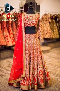 Red Georgette Designer Bridal Wear Lehenga