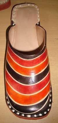 Organge Black Leather Half shoe