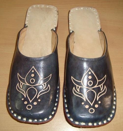 Black Leather Half Shoe