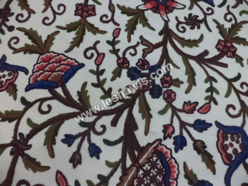 Hand Embroidered Crewel fabric from Kashmir.