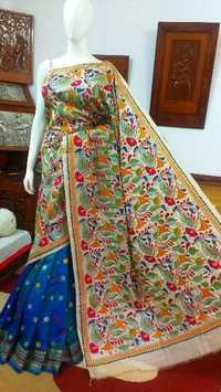 Kantha work silk sarees