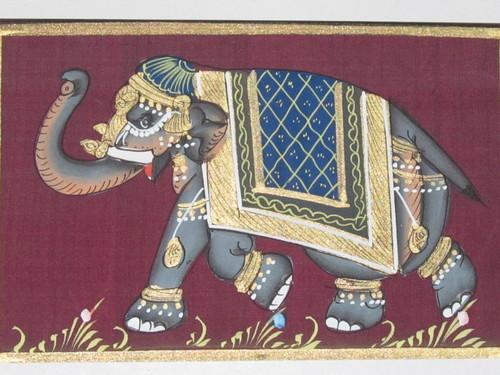 Elephant On Art Silk