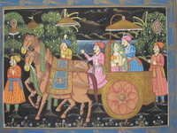 King & Queen Riding On Horse Cart