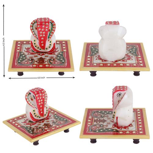 Ethnic Marble Chowki Ganesh 6''