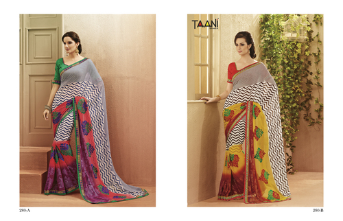 Grey Color Work Sarees