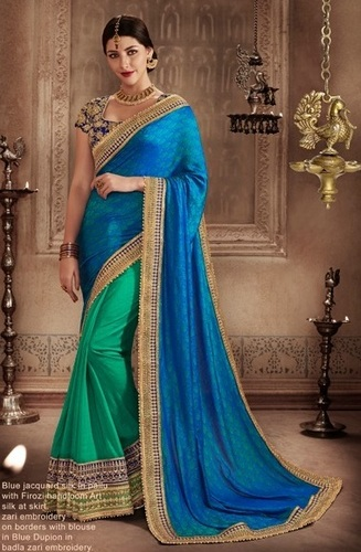 Blue Georgette Wedding Wear Saree